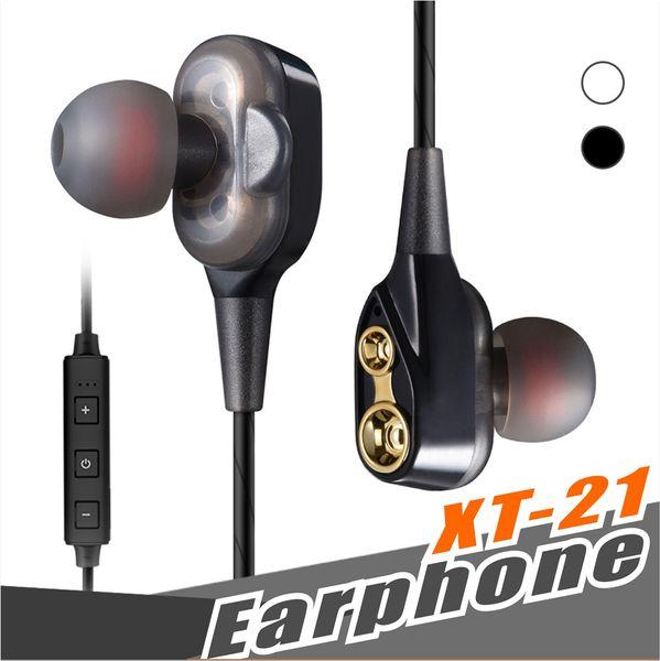 XT-21 Wireless Bluetooth Headphones Sports Earphone Double Speaker Safe Driver Earbuds Headset HIFI Stereo BT4.2 DJ Music with retail box