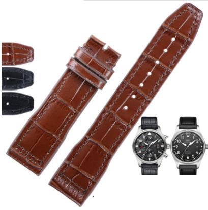 Shihui leather watch belt belt watch chain Brown knotted cowhide male 20mm Brown knotted interface width 20MM