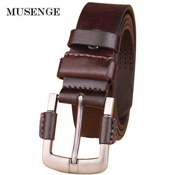 Estilo masculino de los hombres de cuero genuino jeans cinturones de  cintura negros para hombres cinturon d8ef12773156