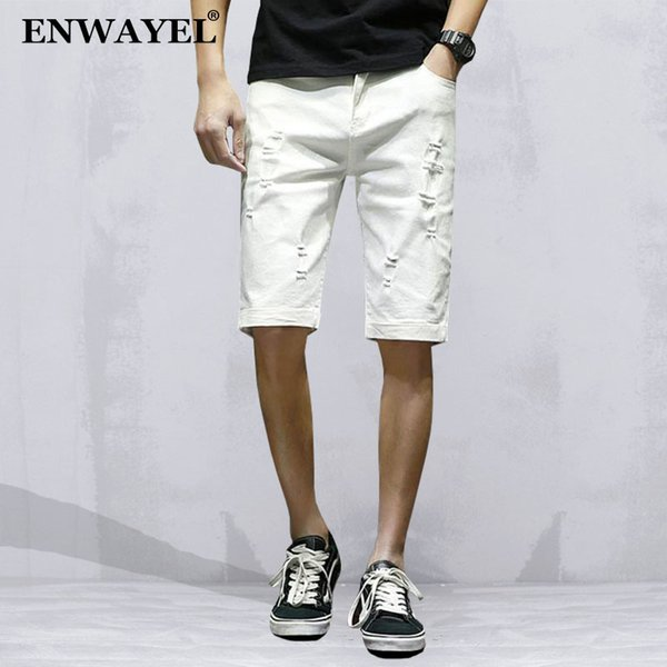 ENWAYEL Summer Black White Casual Jeans Shorts Men Trousers Fashion Hole Ripped Distressed Short Denim Male Hip Hop Streetwear