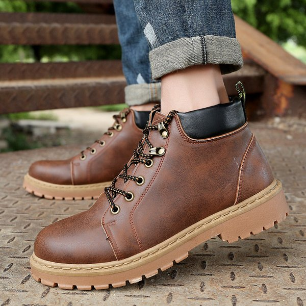 Winter Men's Waterproof Work Safety Boots High Heel PU Leather Fashion Ankle Boots Western Martin Cowboy Boots Big Size EUR39-44