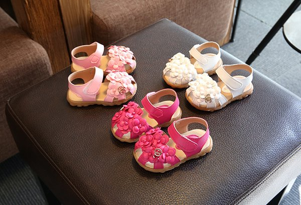 Children First Walkers for baby 3D big flowers sandals cowhells bottom pu fabric anti slip girls princess shoes 1-3 Year baby soft shoes