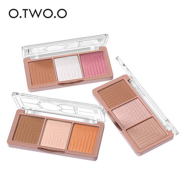 2018 O.TWO.O Brand 3 Colors Highlighter Powder Blush Palette 3D Face Contour Highlighter Shading Powder Face Makeup 3001256