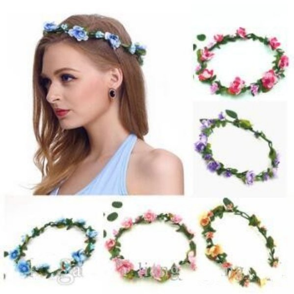 HAIRS Plaited imitation hair garland with flowers BLONDE BROWN FESTIVAL WEDDING