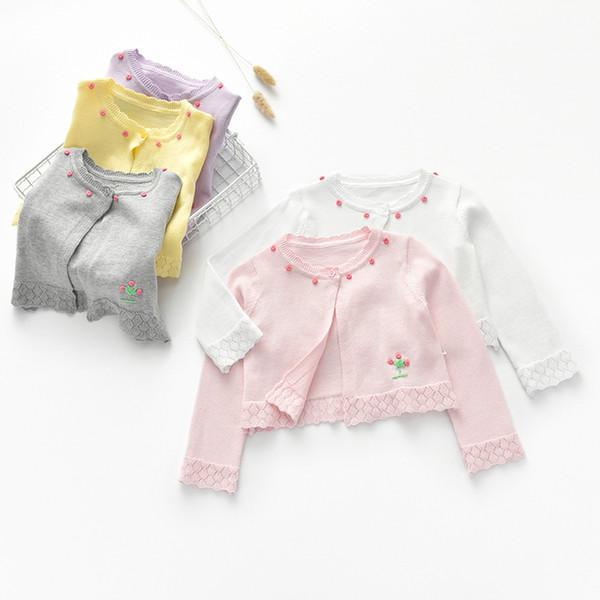 MCYYXY девочки короткий Shrug открыть Stich летний свитер пальто Litthe дети трикотаж футболка цветок