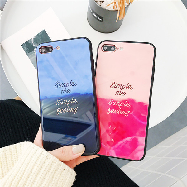 For iphone X Cellphone Cases Gradual Tempered Glass TPU Back Cover For iphone 7 8 6 6s plus Shell Case Japan Korea Style Free DHL A796