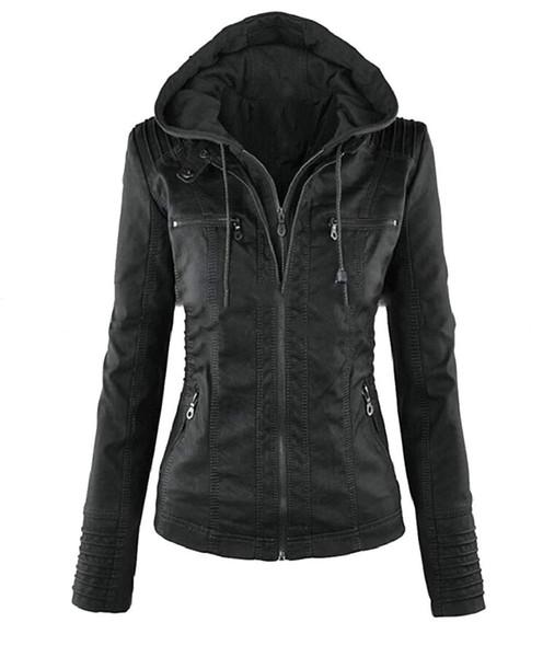 Womens Faux Leather Plus Size Hood Moto Biker Zip up Hoodie Jacket