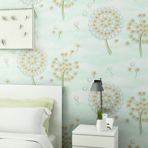Modern Warm Floral Wallpapers Löwenzahn Wallpaper für Wände Non Woven Green Wall Paper für Schlafzimmer Girls Room Wallpaper Pink