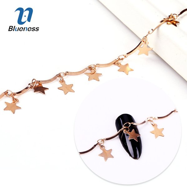 Blueness 1 Box Rose Gold Star Metal Chain Design 3D Rhinestones For Nails Art Decorations DIY Manicure Nail Accessories Studs