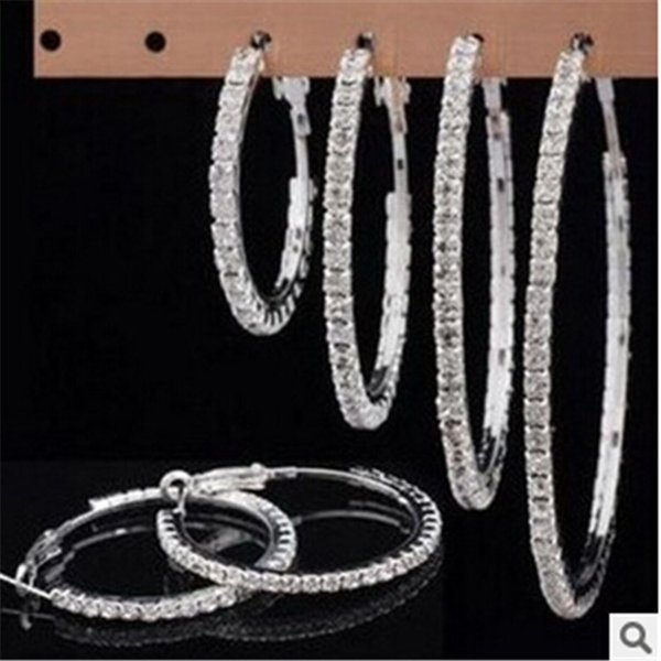 Hot Sale Fashion Silver Gold Rhinestone Small And Big Round Hoop Earrings Jewelry Crystal Earrings For Women Girl Party 3cm 4cm 5cm