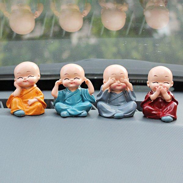 Auto ornamenti 4Pcs / Set 4 Non resina incanta Monaci Buddha Maitreya figura bambola regalo Auto Dashboard decorazioni Pendenti