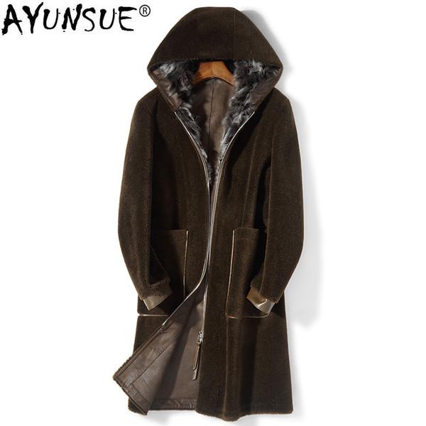AYUNSUE Real Fur Coat Men Clothes 2018 Autumn Winter Jacket Man Hooded Sheep Shearing Korean Long Fur Coats and Jackets KJ1212
