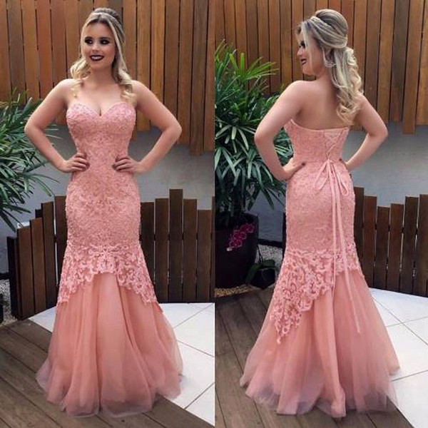 Blush Pink Lace Bodice Mermaid Prom Dresses Sweetheart Appliques ...