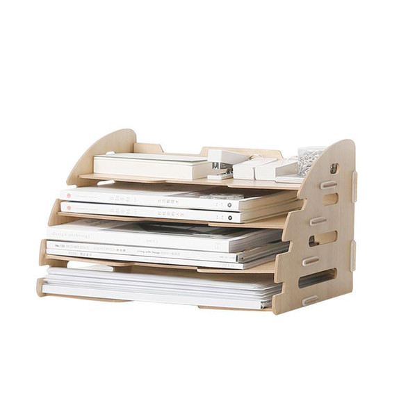 1PCS Wooden Four Layers Storage Racks for A4 Paper Office Desk Organizer Files Rack Colorful Multi-Use Storage Holders