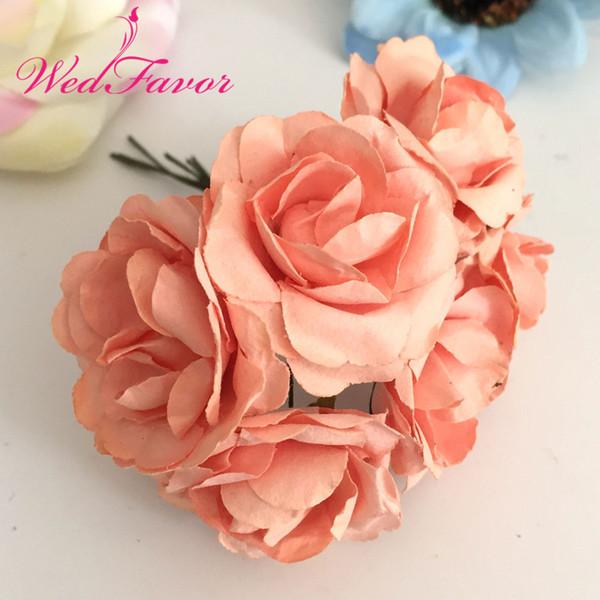 144pcs 3.5cm Imitation Mulberry Paper flowers Artificial Scrapbooking Rose Bouquet For Garland Corsage Box Wedding Decoration