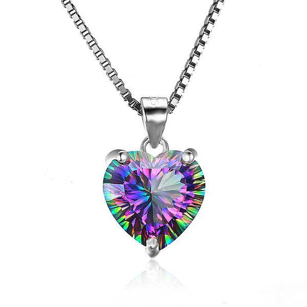 Роскошные стерлингового серебра 925 в форме сердца кулон Радуга цирконий CZ драгоценный камень Шарм Box цепи для женщин ювелирные изделия