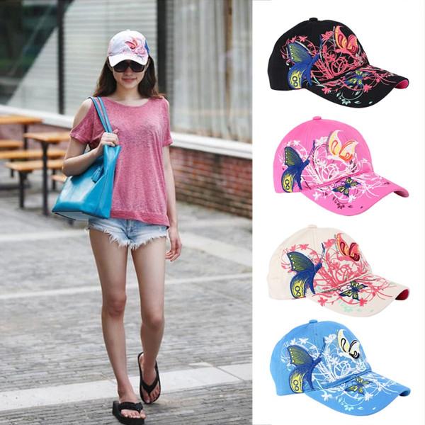 Frauen-Baseballmütze-Schmetterlings-Stickerei-Mode-Sport-im Freienhüte im Freien Frauen Gorras Hip Hop-Hut