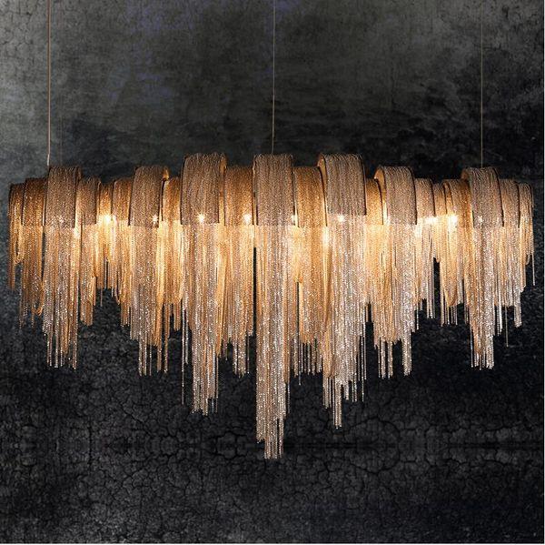 Novo design LED lustres de alumínio luxo luz Cadeia tecido lustre de ouro / prata