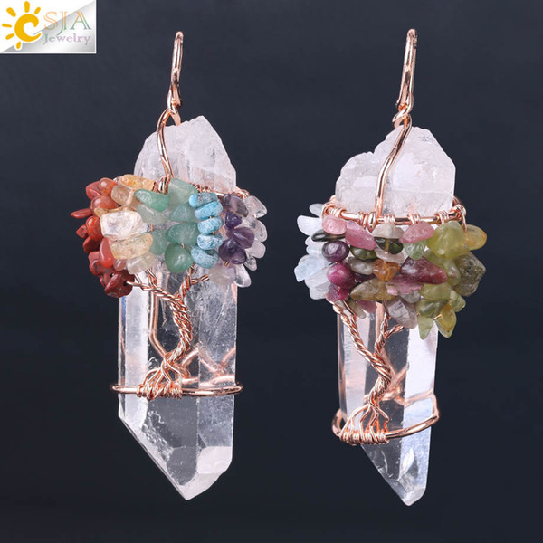 CSJA Men Big Gemstone Pendant Women Natural White Crystal Quartz 7 Chakra Tree of Life Rose Gold Handmade Wire Wrapped Necklace Charms F517