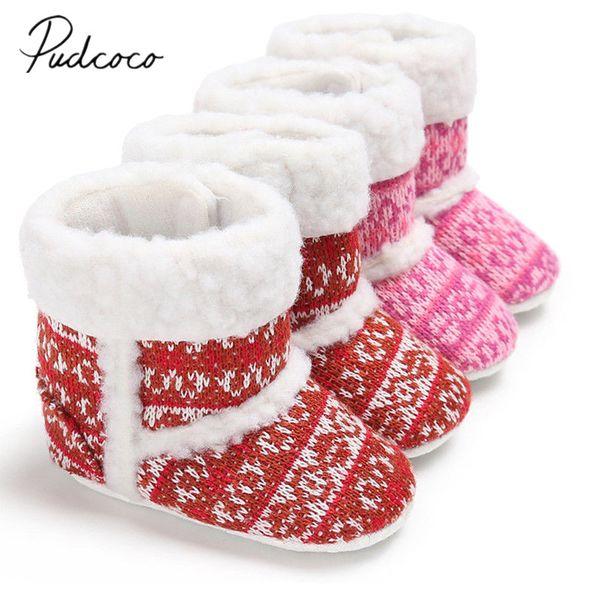 2018 Brand New Newborn Toddler Baby Boy Girl Infant Warm Snow Boots Santa Xmas Soft Sole Booties Prewalker Winer Shoes 0-18M