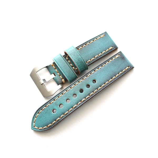 Uomo \ hombre \ sir handgemacht rindsleder Retro 20mm \ 22mm \ 24mm armband Echtes leder Luxus grace roybal blau correas para reloj \ orologio \ strap