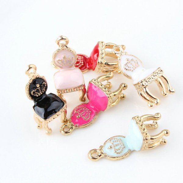 10*26mm 3D Crown chair charms fashion KC gold enamel alloy small bracelet chair pendant metal dangle diy earrings jewelry making findings