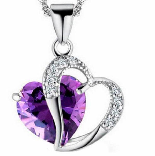 SUSENSTONE 2017 Fashion Women Heart Crystal Rhinestone Silver Chain Pendant Necklace Jewelry