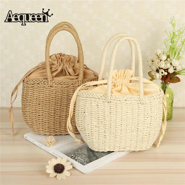AEQUEEN Straw Bucket Basket Bag Women Summer Drawstring Tote Lady Rattan Handbags Small Sweet Korean Knitted Beach Bag Korean