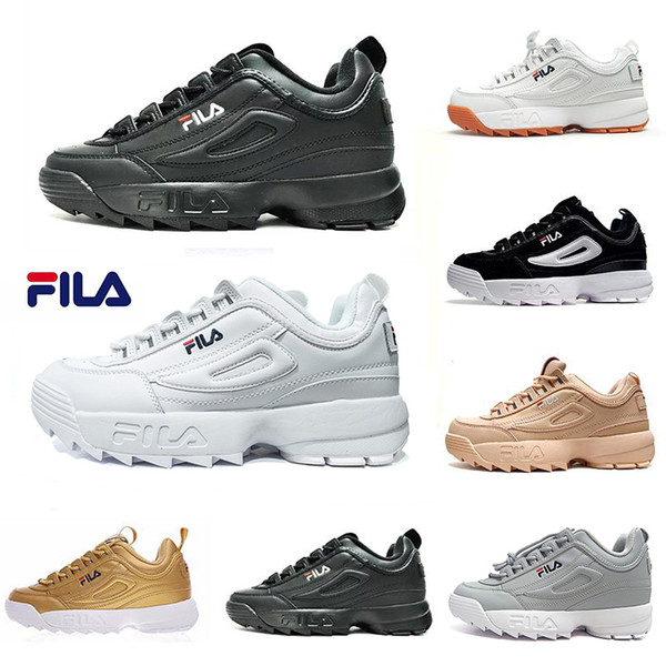 Original FILA white black grey yellow II 2 FILAS Women men FILE special section sport sneaker running shoes increased casual shoes