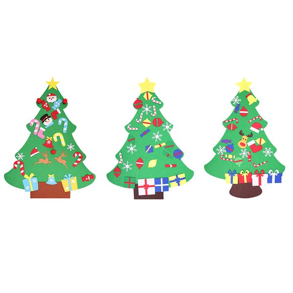 New Year DIY Felt Christmas Tree with Ornaments Children Christmas Gifts for Door Wall Hanging Xmas Decoration