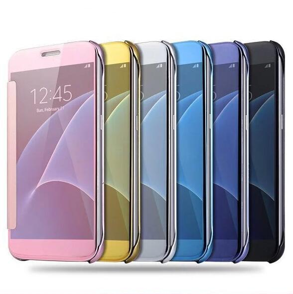 For Samsung S8 Plating Mirror Smart Case Clear View Chrome Flip Electroplate Phone Case Cover for Galaxy S9 Plus S7 S6 Edge Iphone 7 6 6s