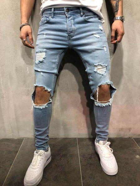 Roupas masculinas Novas Calças de Grife Destruídas Mens Slim Denim Motociclista Reta Jeans Skinny Homens Jeans Rasgado