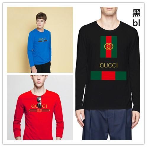 Lüks İtalya 2G Tops Moda tasarım Kırmızı yeşil stripes baskı adam uzun kollu pamuklu Hip-Hop tee t shirt erkek bayan tişörtleri giyim