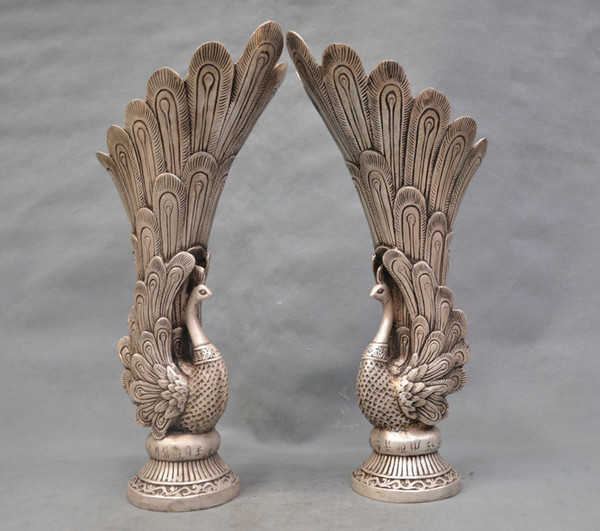 13'' China Silver Bronze Peacock Vase a pair of Bronze Statue