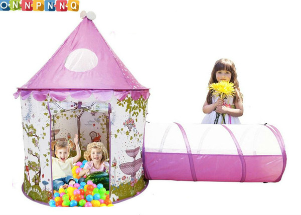 Protable Children outdoor toys Baby Princess Castle Play teepee tents with Tunnel and Pink Girls house Fairy Game Kids Ball Pool Free ship