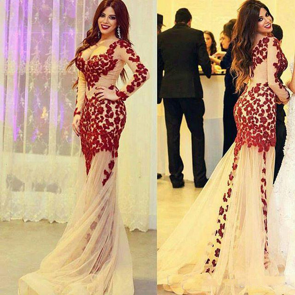 2019 Newest Champagne Tulle Sheer Long Sleeve V Neck Red Lace Applique Mermaid Evening Dresses Sexy Cheap Party Prom Dresses