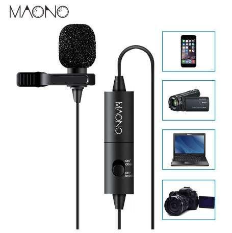 MAONO Yaka Mikrofonu Çok Yönlü Kondenser Yaka Mic clip-iPhone Smartphone için Canon DSLR Kamera PC Bilgisayar Dizüstü