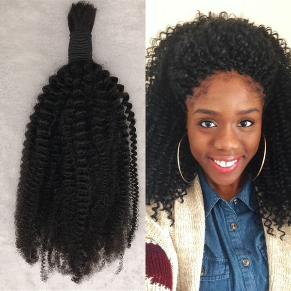 Kinky Curly Human Hair Bulk For Braiding Natural Black 1pc Mongolian Curly Bulk Hair For Black Women