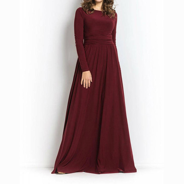 Elegant Scoop Neckline Burgundy Long Bridesmaid Dresses woman dresses full length Prom Party dress long sleeves Custom Made Party Gowns