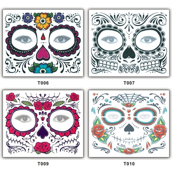 2018 New Halloween Tattoo Face Temporary Tattoos Halloween Costume Cosplay Party Makeup Body Art DHL Free Shipping