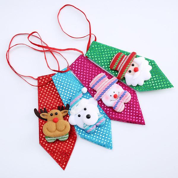 Corbatas ajustables de Navidad Lentejuelas Niños Corbata Santa Claus muñeco de nieve Reno Oso Corbata Decoración de Navidad Inicio Adornos de Navidad