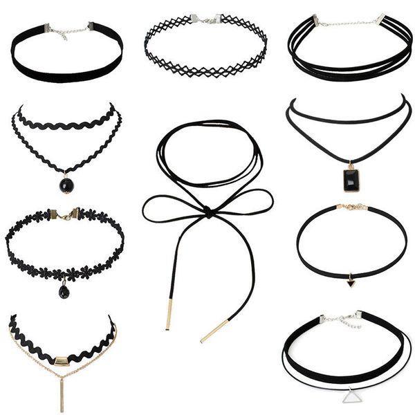 Collier Collier Goth Black Lace Choker Colliers pour Femmes Simple Style Korean Velvet Choker Bijoux De Mode