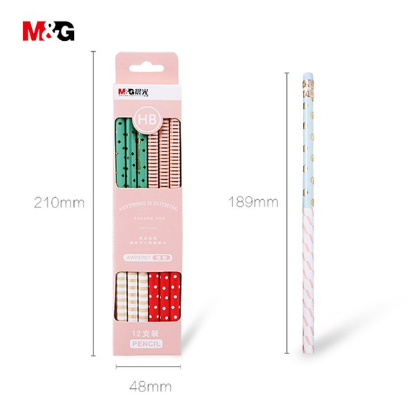 M&G 12pcs Minimalism design pencil for school high quality elegant brand office&school art supplies simple style kid gift pencil