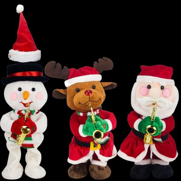 Netter weicher Plüsch-Spielzeug-Weihnachtsmann-Elch-Schneemann-Hut-Weihnachtselektrisches Spielwaren-Neuheit-Musik-Puppe-Spitzenende 37ll BB
