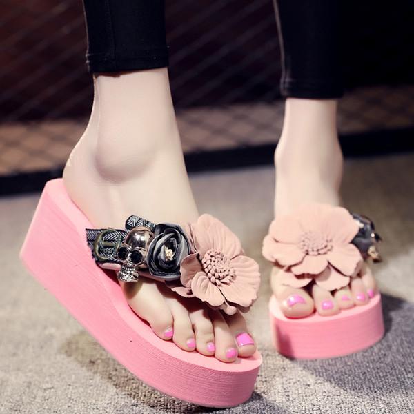 Панк череп клинья сандалии цветок вне пляжная обувь на высоких каблуках ручной работы женщин шлепанцы гной размер 35-42