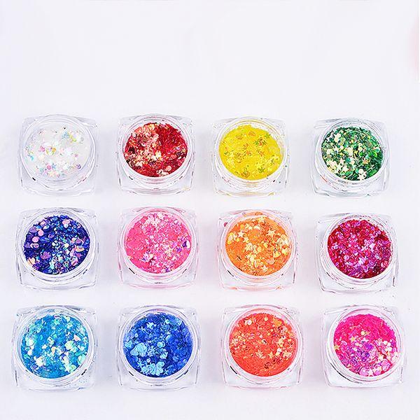 12bottles Nail Art Shell Flakes Slice Sequins Glitter Irregular Mix Sparkle 3D Ultra Thin Gel Polish Tips Manicure Decor Set