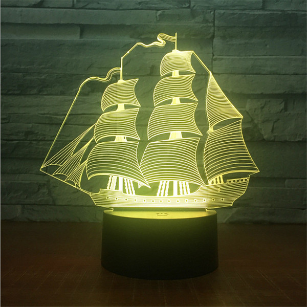 New Coming Design DC 5V USB Powered AA Battery Sailing Boat Pattern Night Light 3D Illusion Lamp