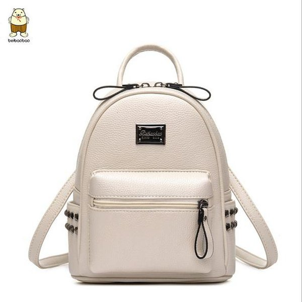 Beibaobao 2017 Hot New High Quality Women BackpacSmall School Bags For Teenage Girls Pu Leather Rivet Multi-use backpack