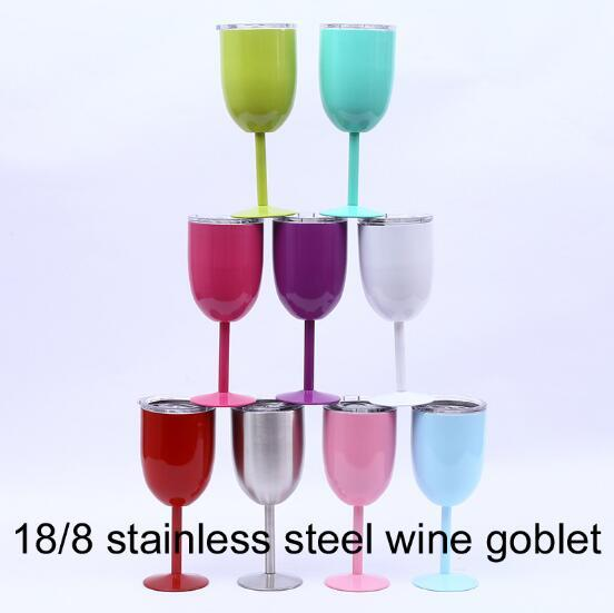 9 Colors 10oz Wine Glasses Stainless Steel Vacuum Insulated Cups Red Wine Cups Stem Wine Goblet With Lid CCA9252 25pcs