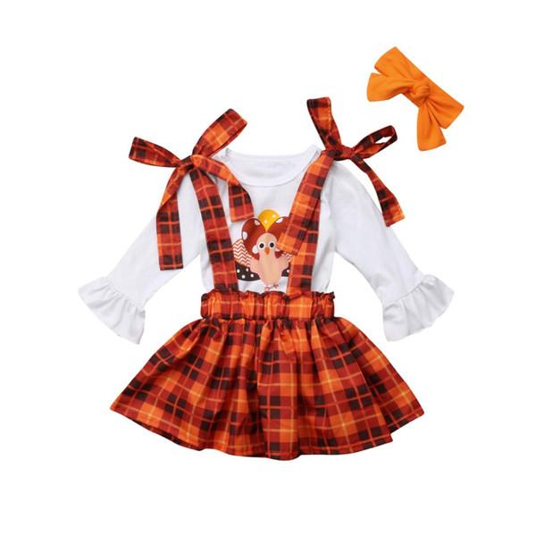 День благодарения малыш дети девочка комплект с длинным рукавом Турция печати хлопок футболка топ плед Подтяжк юбка партия одежда